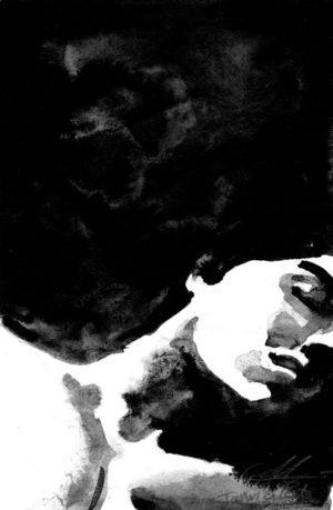 Portrait à l'encre de chine - Éléonore Goldberg
